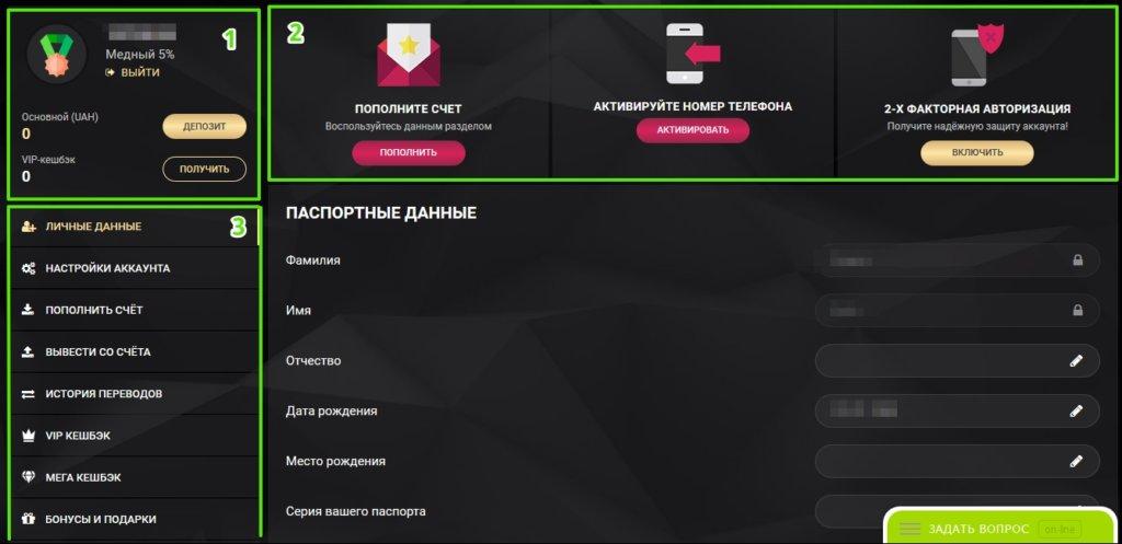 Кабинет игрока 1ХСлотс - Элементы управления личным кабинетом (первая часть)