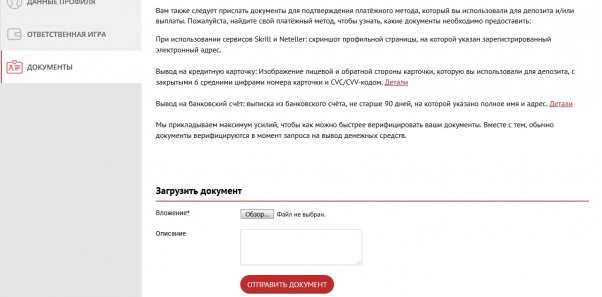 Бетчан аккаунт игрока: документы