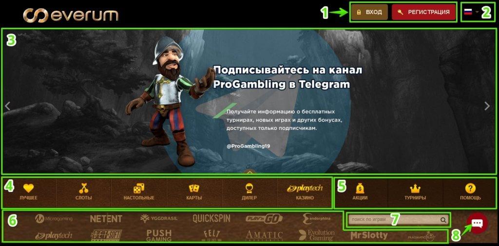 Основные функциональные элементы сайта казино Эверум