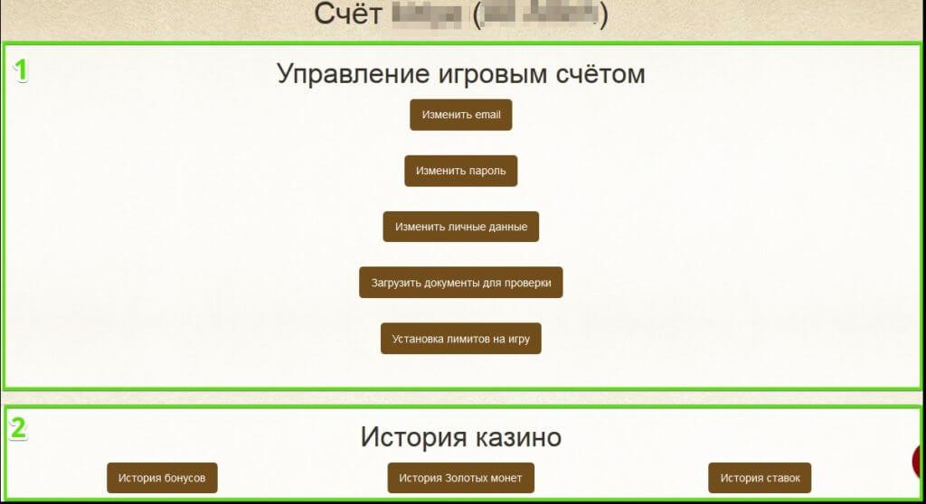 Кабинет игрока казино Еверум - Основные возможности