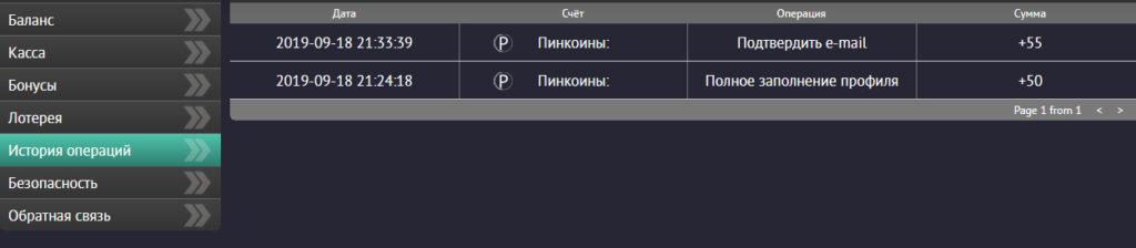 Аккаунт игрока в казино Пин Ап: Раздел - История операций