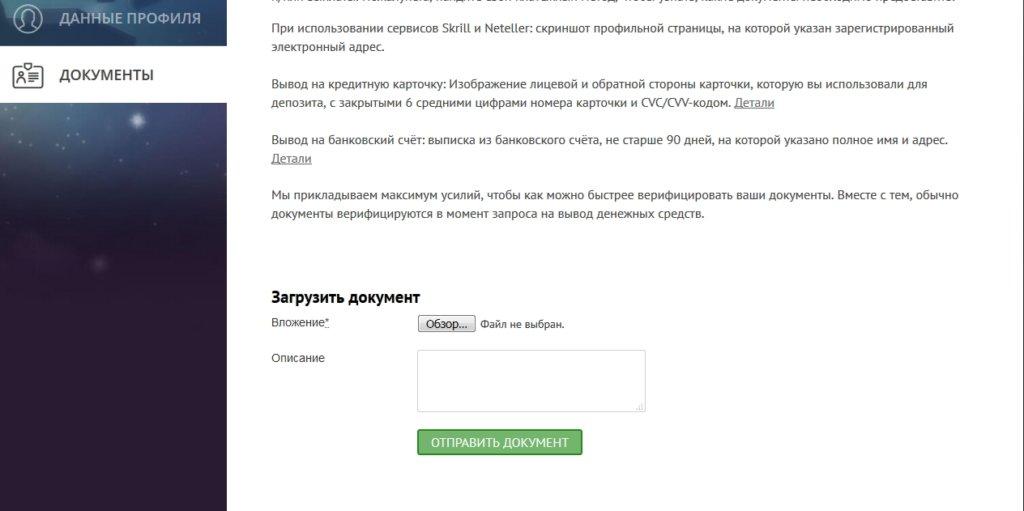 Аккаунт игрока в Плейамо - загрузка документов
