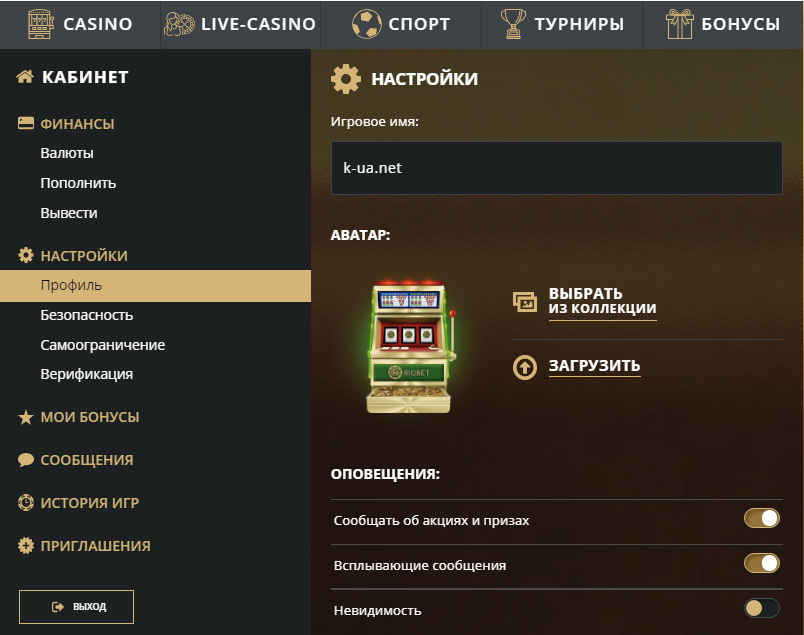 Аккаунт игрока в Риобет - настройки профиля