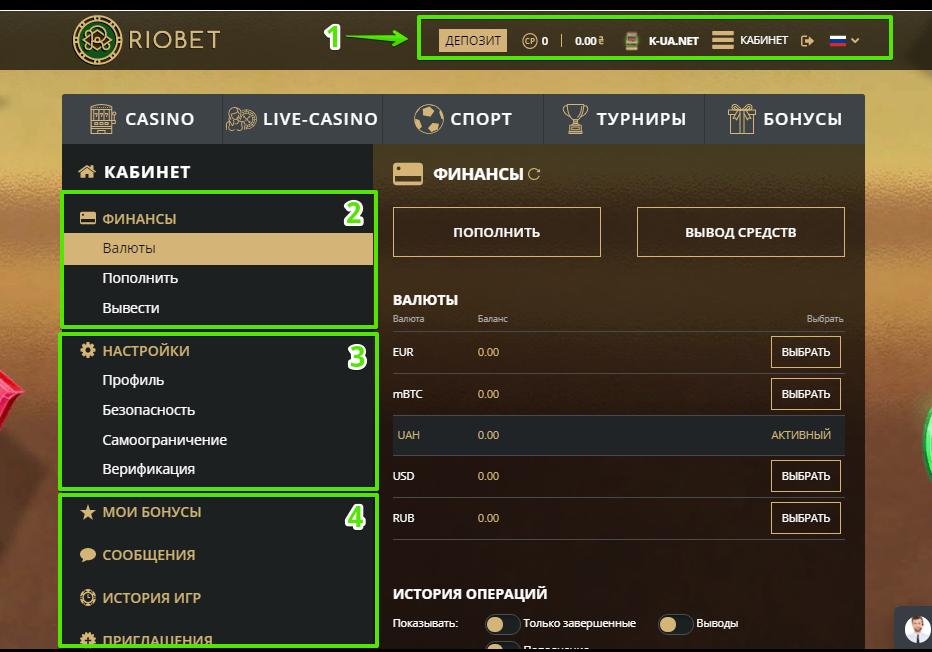 Аккаунт игрока в Риобет - основные элементы