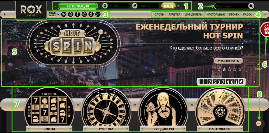 Обзор главной страницы казино Rox