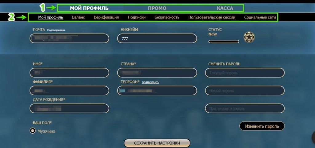 Личный кабинет игрока в Rox Casino - Мой профиль