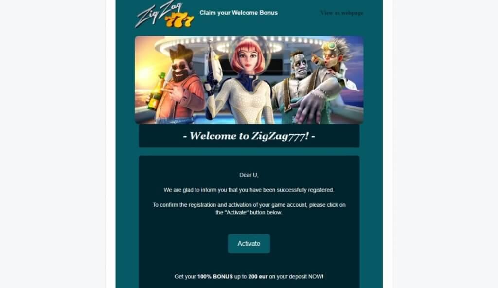 Регистрация в казино ЗигЗаг777: Шаг 4 - Письмо пришедшее на почту