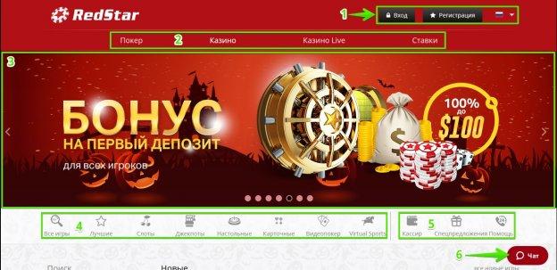 Главная страница казино РедСтар: Основная навигация