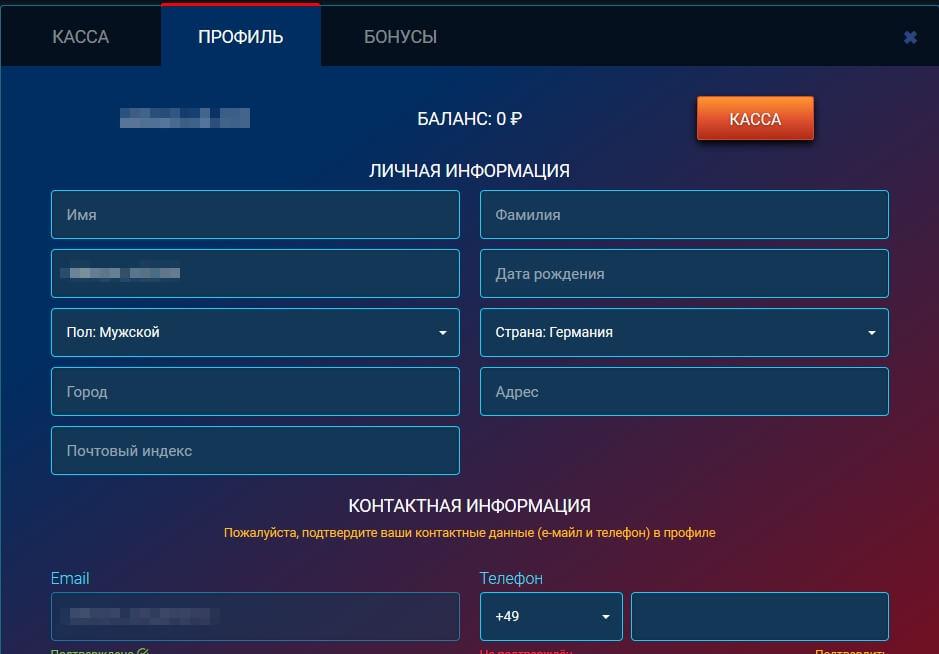 Личный кабинет в казино Vulcan Maximum: Личная информация
