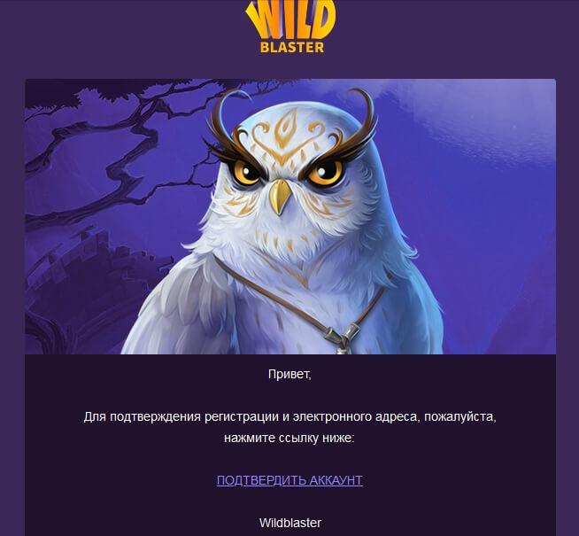 Регистрация в казино Wildblaster: Подтверждение аккаунта