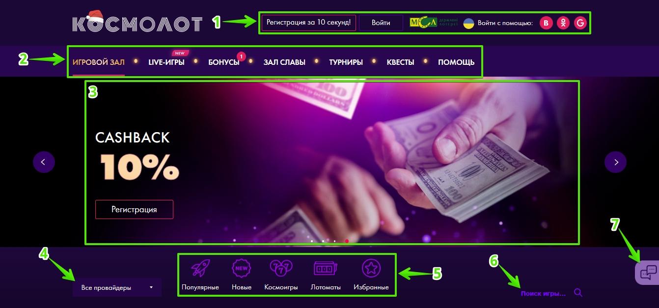 Главная страница казино Космолот: Навигация