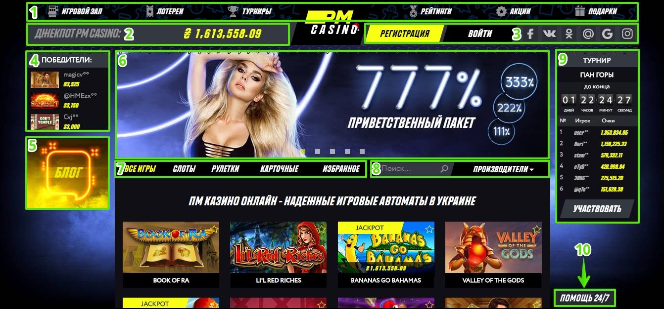 Главная страница РМ казино: Навигация