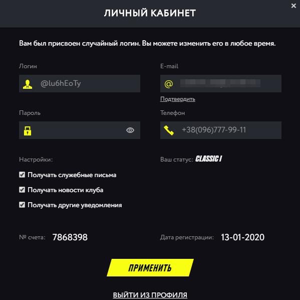 Личный кабинет в PM Casino: Информация о пользователе