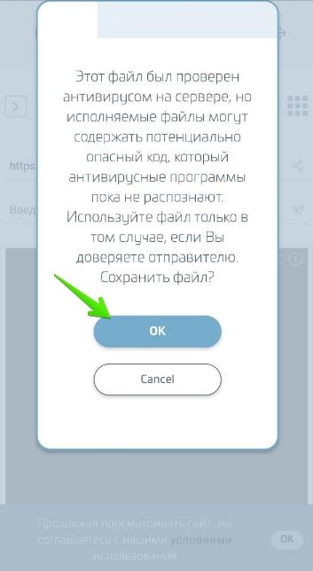 Приложение Слотокинг: Установка приложения — Шаг 2. Подтверждение загрузки