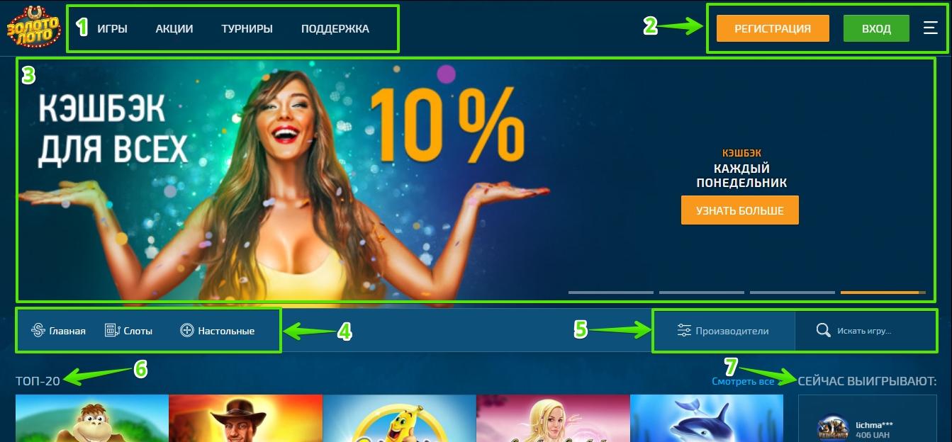 Главная страница казино Золото Лото: Навигация
